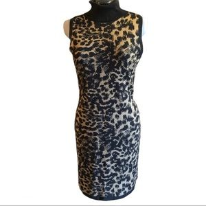 Calvin Klein Leopard Turtleneck Sweater Dress, L